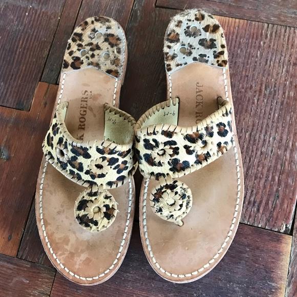 Jack Rogers Leopard Fur Leather Navajo